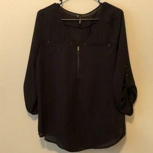 Black chiffon 3/4 length sleeve top